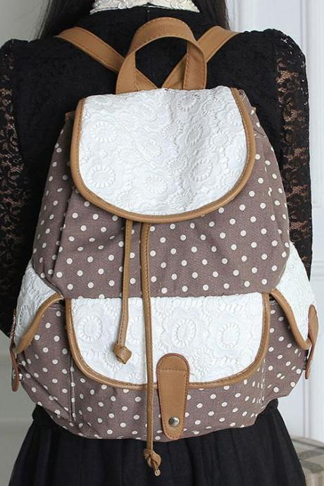 Dot Lace Flora Soild Leisure Backpack