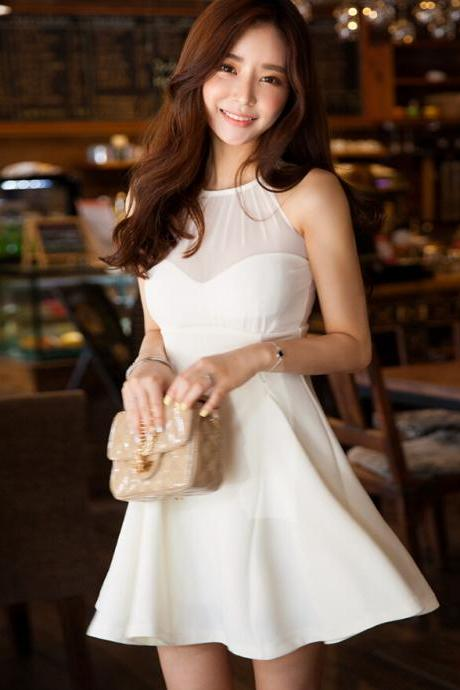 Sweet backless chiffon Sleeveless dress