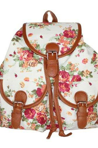 Retro Floral Printing Soild Backpack