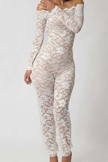 Free shipping Off The Shoulder Semi Sheer Lace Jumpsuits - White