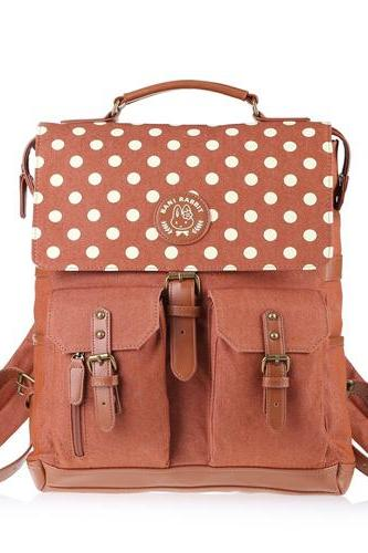 Polka Dot Hasp Denim Travel Bag School Backpack