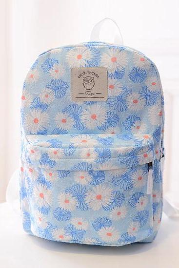 Chrysanthemum Printed Canvas Travel Backpack