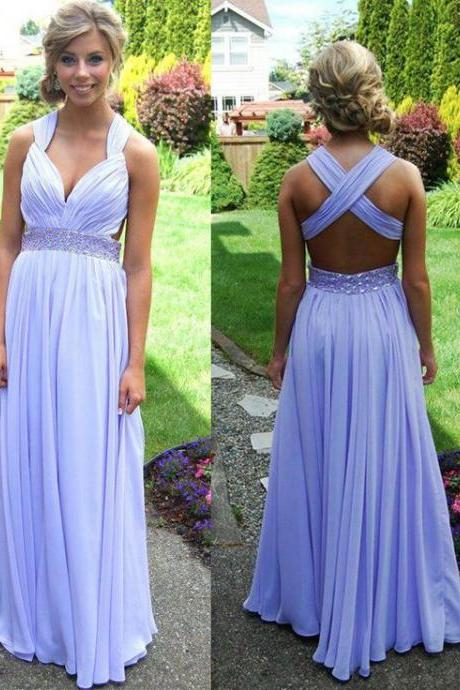 Lavender Prom Dresses 2015 Spring A-line Crisscross Straps Back Sweep Train Crystal Beads Waistband Chiffon Backless Formal Evening Dresses
