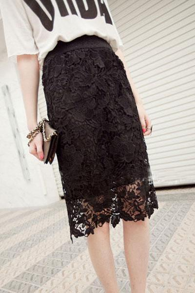 Lace Hollow Soluble Slim Waist Pencil Skirt
