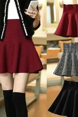 Fashion High Waist Wool Pleated Skirt