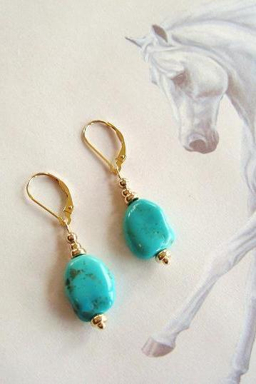 Genuine Sleeping Beauty Turquoise Nugget Solid 14kt Gold Pierced Earrings