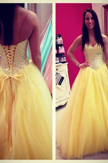 A Line Prom Dress, Princess Prom Dresses, Yellow Prom Dress, Dresses For Prom, Tulle Prom Dress, Sparkly Prom Dresses