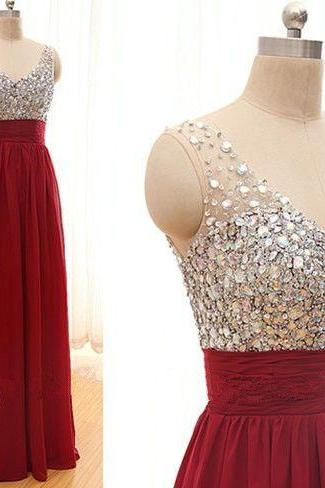 2015 New Arrival Sequins Chiffon Prom Dresses,V-Neck Real Made Floor-Length Prom Dresses, Beading Prom Dresses, A-Line Prom Dresses, Charming Sleeveless Evening Dresses,