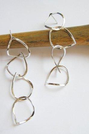 Silver Dangle Earrings - Drops Earrings - Long Sterling Silver Earrings - Teardrop