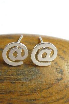 At Sign Earrings - Sterling Silver Stud Earrings - Twitter Earrings