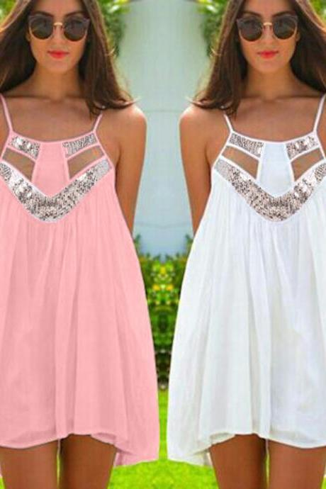 A-Line Chiffon Strap Mini Dress