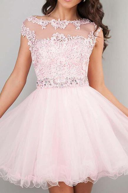 2015 Cute Short Prom Dresses Pink High Neck Beaded Applique See Through Party Gowns Cheap Junior Girls 8th Graduation Homecoming Dresses