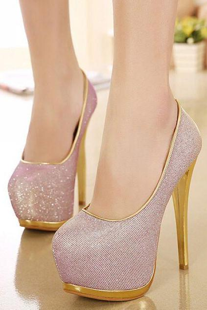 Sexy Gold Trim High Heels Fashion Shoes