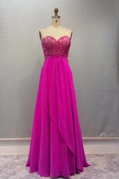 Pretty Handmade Fuchsia Beadings Prom Dress 2016, Long Prom Dresses 2016, Sexy Prom Dresses