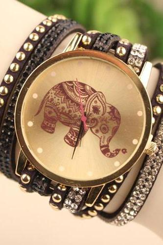 Elephant Rivet Leather Belt Bracelet Watch