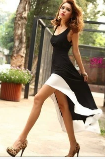 Sexy low U brought the white edge stitching dovetail skirt elegant long skirt ladies' dresses LYND