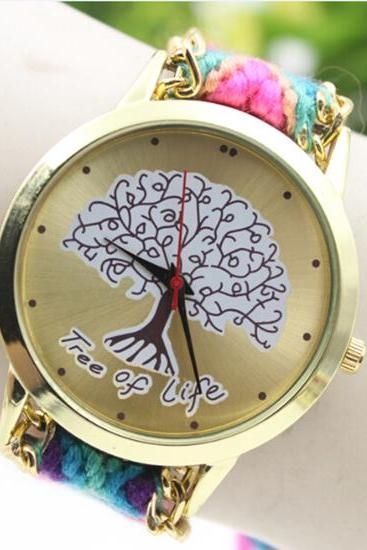 Tree Of Life Colorful Handmade Woolen Bend Watch