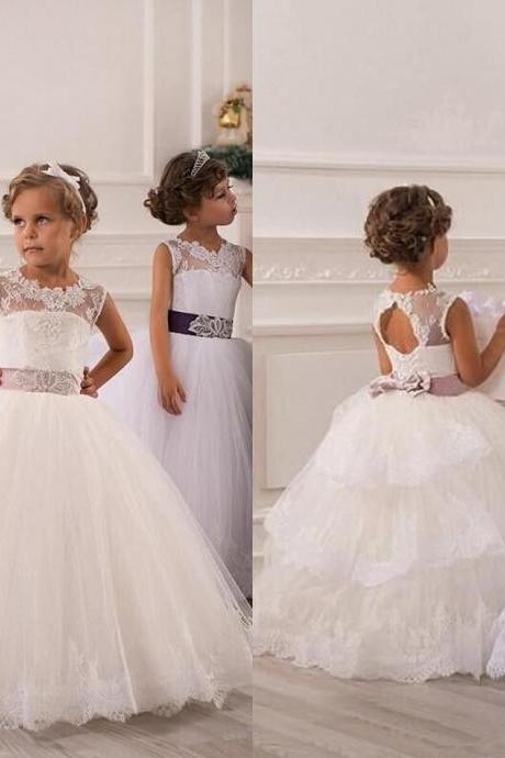 2015 Spring Flower Girl Dresses Vintage Jewel Sash Lace Net Baby Girl Birthday Party Christmas Princess Dresses Children Girl Party Dresses