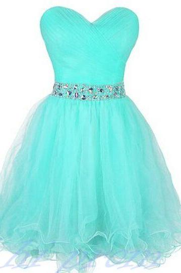 Light Blue Homecoming Dress,Sweetheart Prom Gown,Tulle Homecoming Gowns,Beaded Party Dress,Cheap Prom Dresses,Sparkly Evening Dress