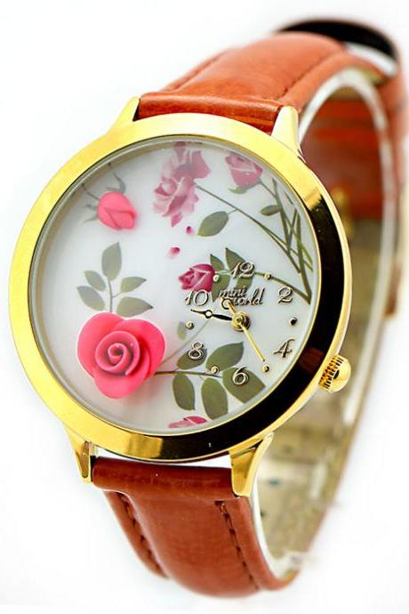 Cute Flower Gold Edge Polymer Clay Watch