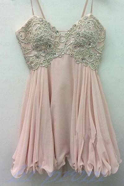 A Line Homecoming Dress,Short Prom Dresses,Chiffon Homecoming Gowns,Blush Pink Party Dress,Sparkly Formal Gown,Cocktails Dress,Sweet 16 Dress