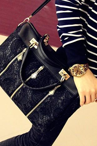 Black Fashion Lace Retro Handbag Shoulder Bag