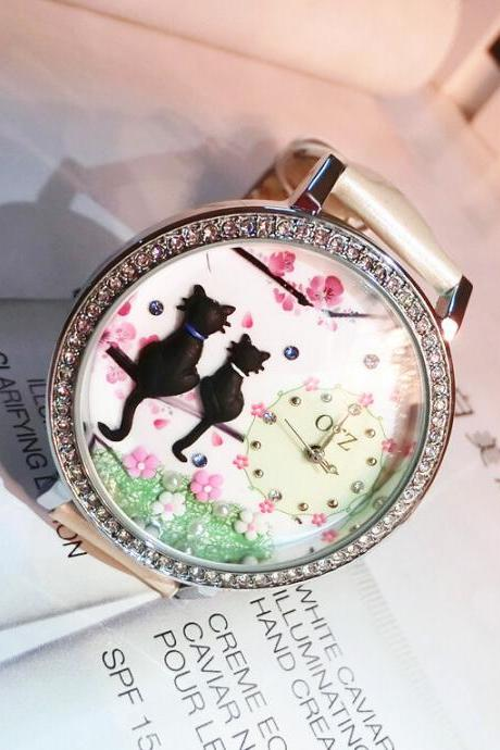 Cat individuality creative diy couples ls lady's watch