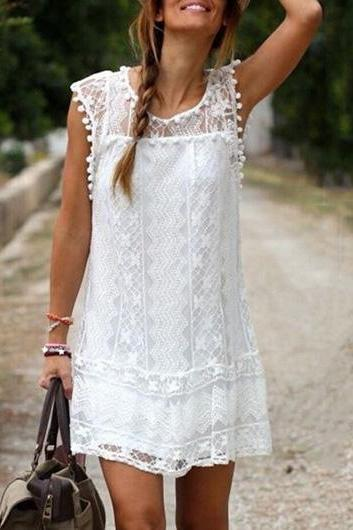 White Round Neck Lace Shift Dress with Pom Pom Trim