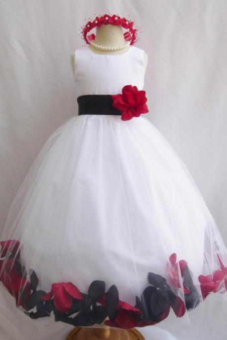 Free shipping CUSTOM COLOR - Flower Girl Dresses Rose Petal - Wedding Easter Junior Bridesmaid - For Baby Infant Children Toddler Kids Teen Girls