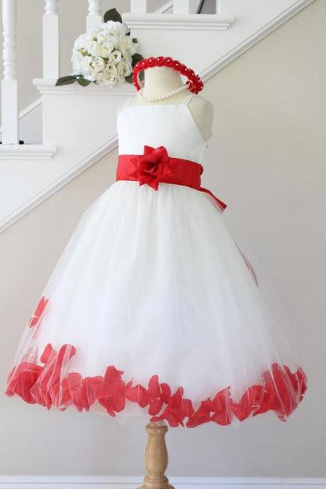 BEGONIA RED Flower Girl Dresses Petal. IVORY Custom Color Spaghetti Strap. Wedding Easter Bridesmaid. For Baby Children Toddler Teen Girls