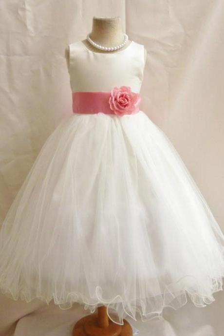 Flower Girl Dresses - IVORY with Guava (FD0FL) - Wedding Easter Junior Bridesmaid - For Children Toddler Kids Teen Girls