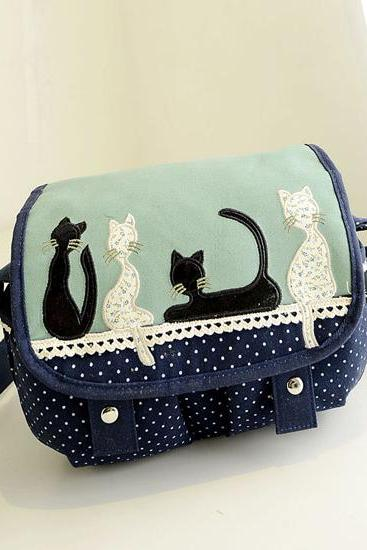 Kitten Polka Dot Shoulder Bag Messenger Bag