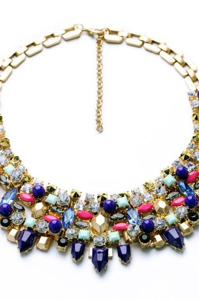 Blue Gem Stone Crystal Rhinestone Chunky Statement Necklace Fashion Jewelry Party Accessories CA010-1
