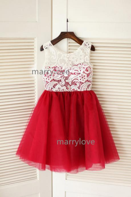 Red Tulle Ivory Lace Flower Girl Dress Children Toddler Dress for Wedding Junior Bridesmaid Dress
