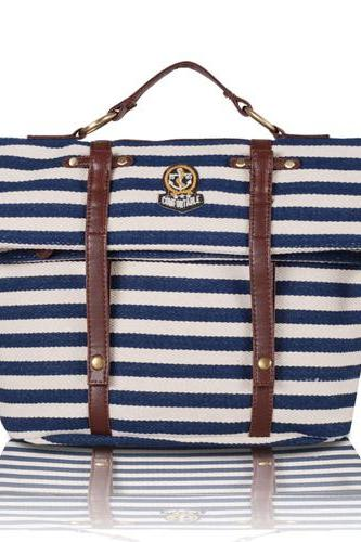 Navy Stripe Multifunction School Travel Backpack