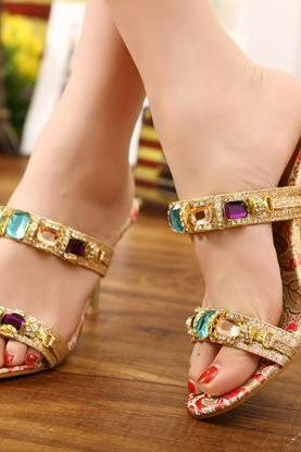 Sexy Rhinestone High-Heeled Sandals