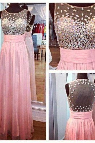 Pretty pale pink beaded prom dress, pink evening dress 2016, prom dress sale, evening dress chiffon prom dress