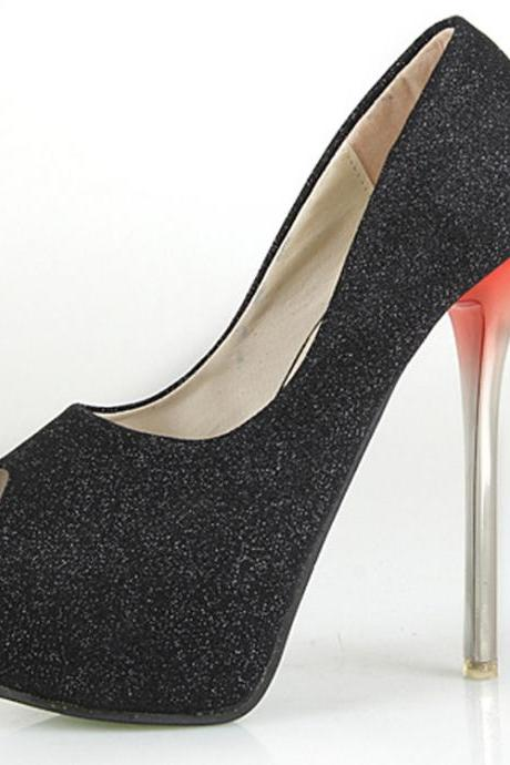 14cm Black High-Heeled Shoes