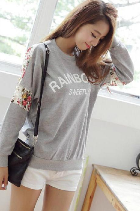 2015 Hot sale Sweet Lace Flower Loose Sleeved Sweater&Shirt for women