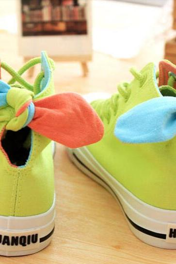 Beef tendon end candy colour rabbit ears bowknot canvas shoes