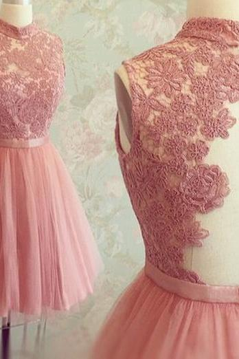 2015 new Custom Made Rose Pink Tulle High Neck Cocktail Dresses With Lace Appliques Bodice Short Party Dress'