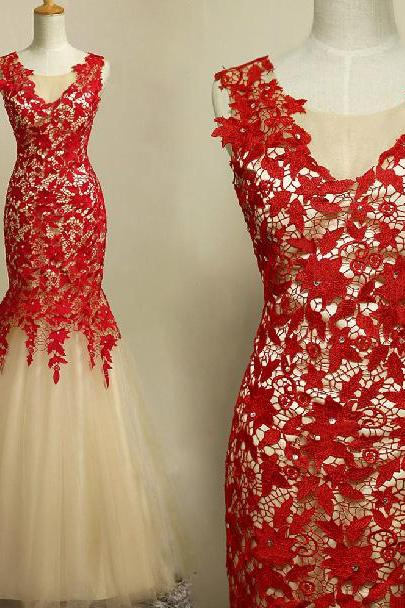 Sexy red lace long prom dresses, elegant mermaid lace applique dress, sleeveless v-neck lace floor length prom dresses, prom dresses custom