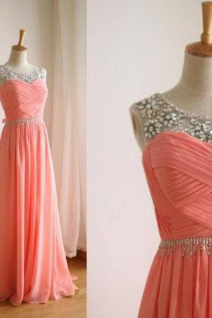 Hand-beaded peach chiffon Tee A line Floor Length prom dress, coral chiffon prom dresses, prom dresses 2015, evening dress, gown