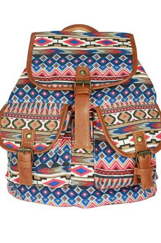 Star Stripe Pattern Drawstring Hasp Rucksack Backpack