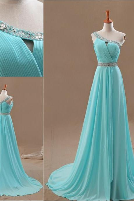Blue shoulder hand-beaded chiffon prom dress, bridesmaid dress custom, elegant dress, A-line prom dress, custom colors