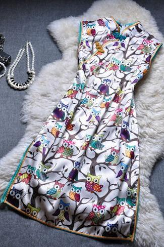 Owl printing temperament cultivate one's morality fashion qipao dress