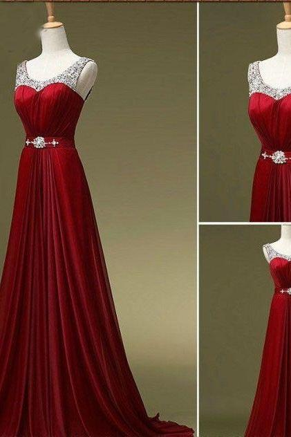 Dark red chiffon evening dress, sparkling sexy prom dress, round neck chiffon hand-beaded ball gown, Strap formal dress