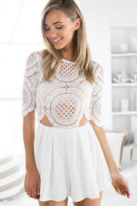 White Lace Romper Featuring Crew Neck, Quarter Sleeve and Cutout Detailing