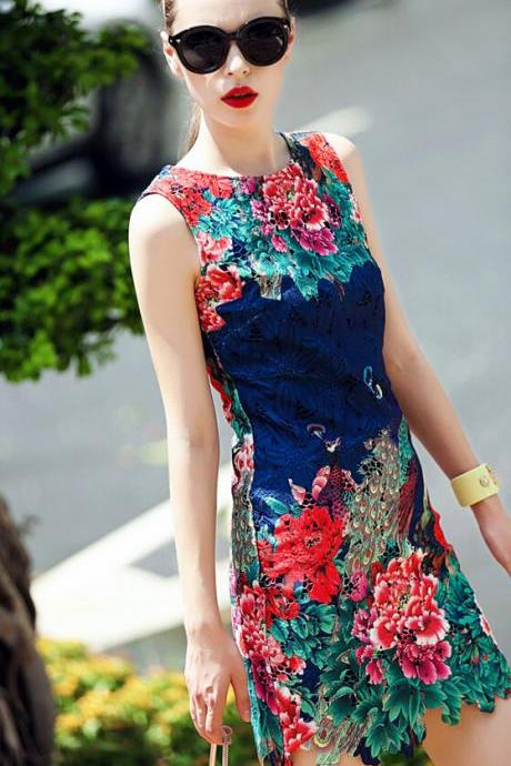 High-end boutique heavy lace peacock peony cultivate one's morality show thin dress