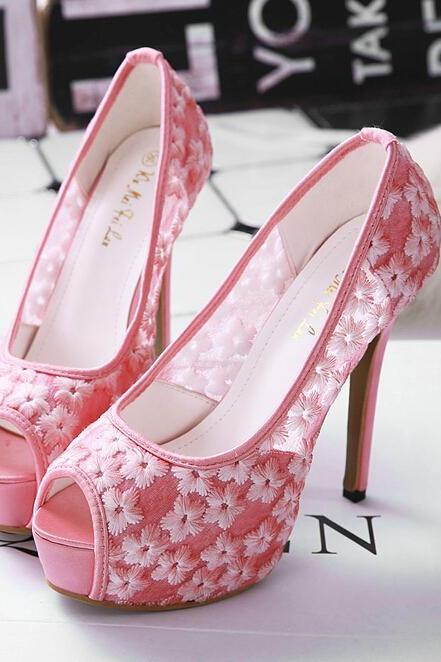 Peep-Toe Floral Platform Stiletto, High Heels